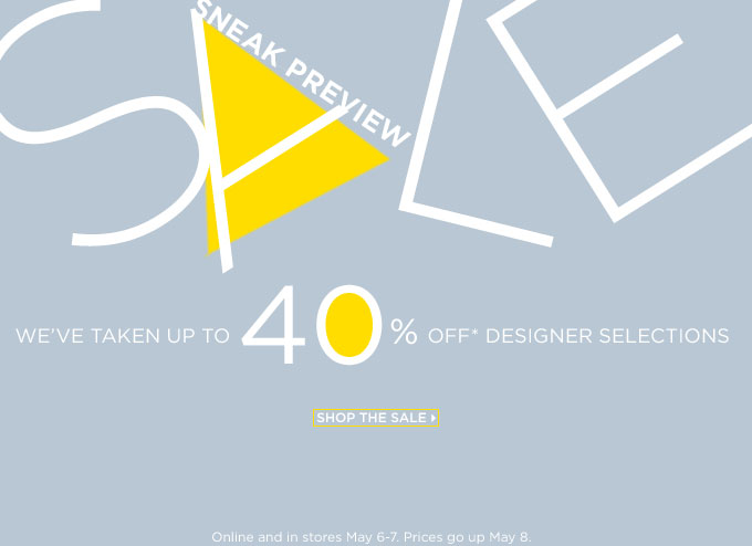Saks 5th Avenue; 40% off designer sale; free shipping with $200
