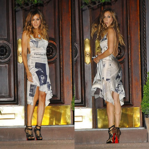 "Below: SJP in the ""Christian Louboutin Bridget Strass Pumps"" $3,325 at"